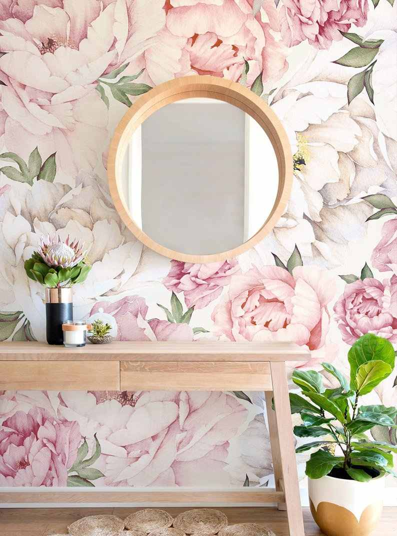 Beautiful Flower Mural Wallpaper Mixed Pink Watercolor Peony Extra Large Wall Art Wall Poster Bedroom Wall Decor Wall Sticker