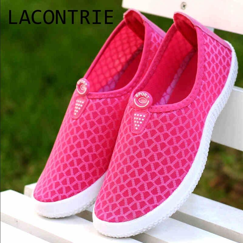 LACONTRIE 2017 female summer breathable shoes women s casual shoes flat bottomed women s shoes hole
