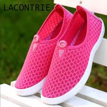 LACONTRIE  2017 female summer breathable shoes women's casual shoes flat-bottomed women's shoes hole hole garden shoes