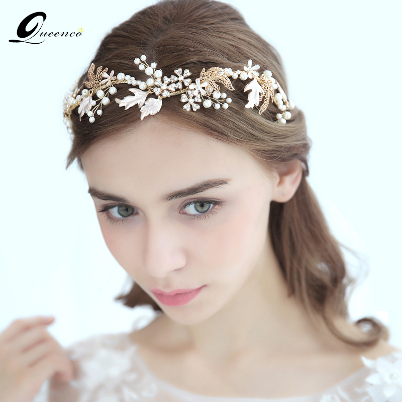 Us 23 68 40 Off Queenco Golden Wedding Hair Accessories Bridal Headbands Tiara Hair Vine Handmade Bridal Headpiece Fashion Jewelry For Bride In Hair