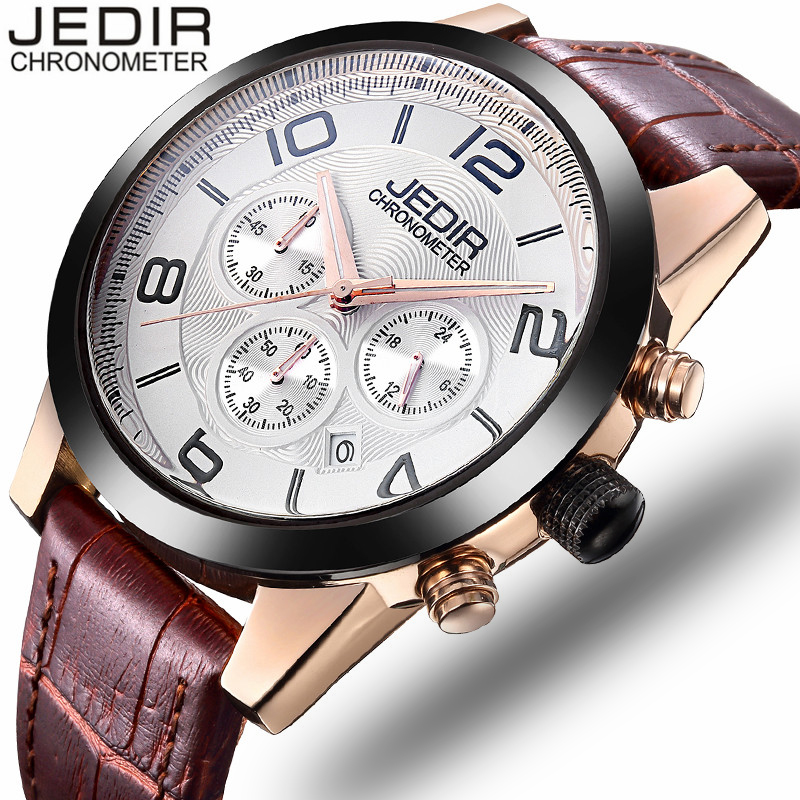 JEDIR Mens Watches Top Brand Luxury Chronograph Clock Male Sport Waterproof Wristwatch Leather Quartz Watch relogio masculino mens watch top luxury brand fashion hollow clock male casual sport wristwatch men pirate skull style quartz watch reloj homber
