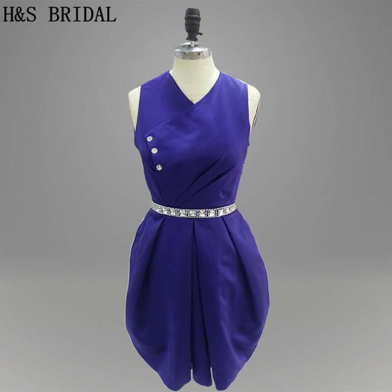 Real Model Fashion Style Short Prom   Dress   Royal Blue color Waist Beaded see through Back mini   cocktail     dress