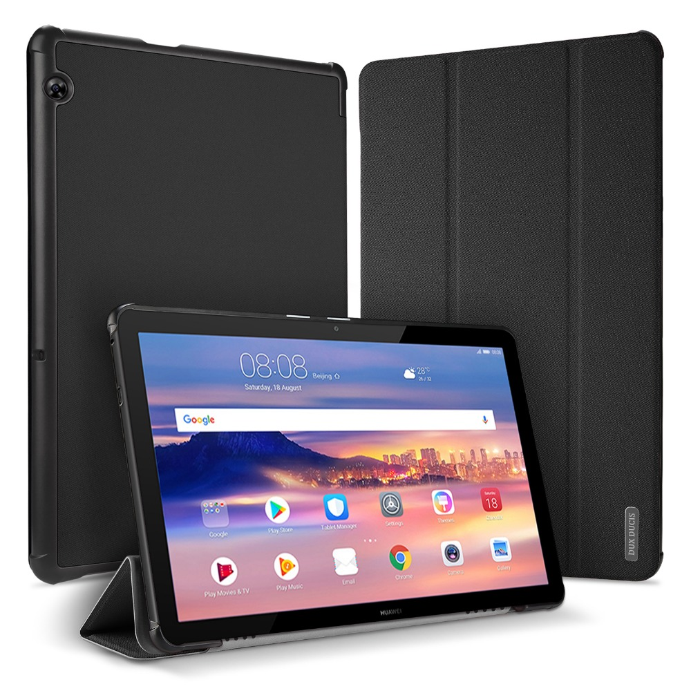For Huawei Mediapad T5 10 Case DUX DUCIS Slim PU Leather Auto Wake Sleep Stand Smart Case For Huawei Mediapad 10.1