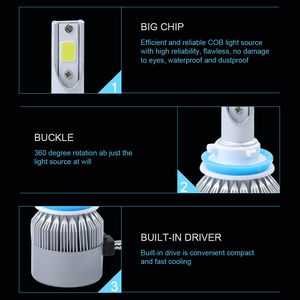 Image 4 - 6000 18k h4 ledヘッドライトh11 h1 9012 9005 9006 hb3 hb4 H7 led cobヘッドランプ電球ハイロービーム車の電球externl光源 72 ワット 12v