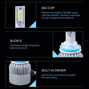 Image 4 - 6000K h4 led headlight h11 h1 9012 9005 9006 hb3 hb4 H7 led COB headlamp bulb hi lo beam car bulb Externl light source 72w 12V