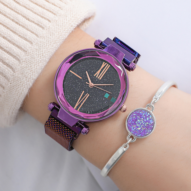 Watch Women Luxury Women Watches Rose Gold Ladies Wrist Watches Fashion Casual Starry Sky Magnetic Watch Waterproof reloj mujer