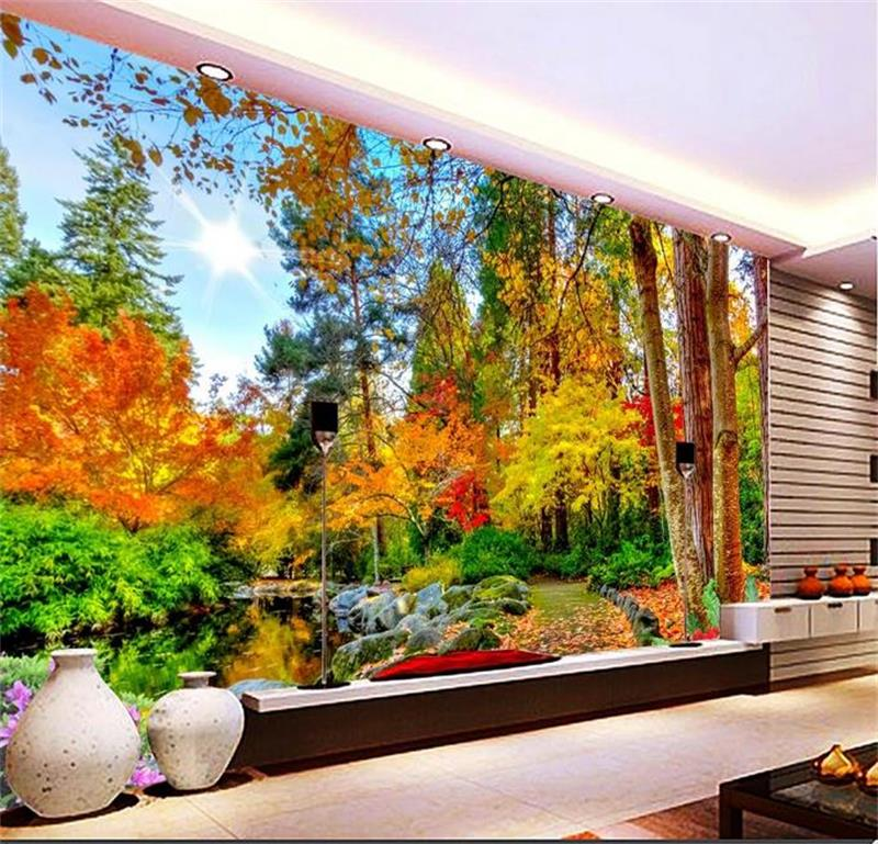 custom 3d mural photo wallpaper autumn nature non-woven sticker bed room sofa TV background wall painting wallpaper for walls 3d 3d photo wallpaper custom room mural non woven sticker retro style bookcase bookshelf painting sofa tv background wall wallpaper