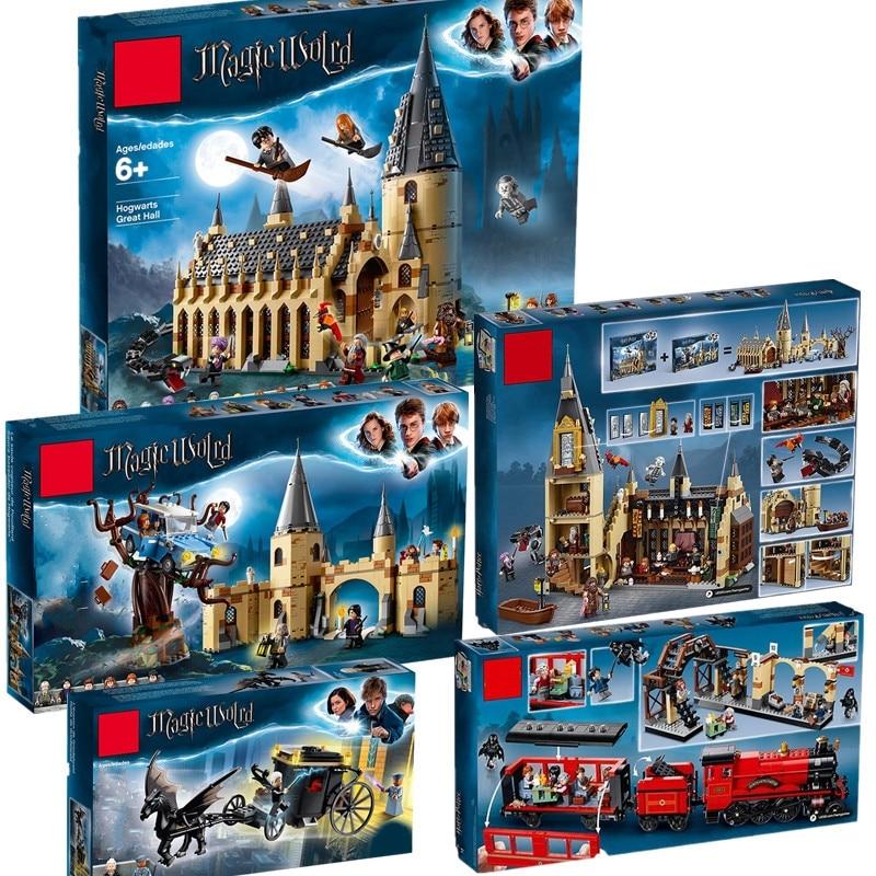 Harri Potter Castillo salón 75952, 75953, 75954, 75956, 75957 Compatible con Legoinglys modelo bloques de construcción ladrillos juguetes No caja