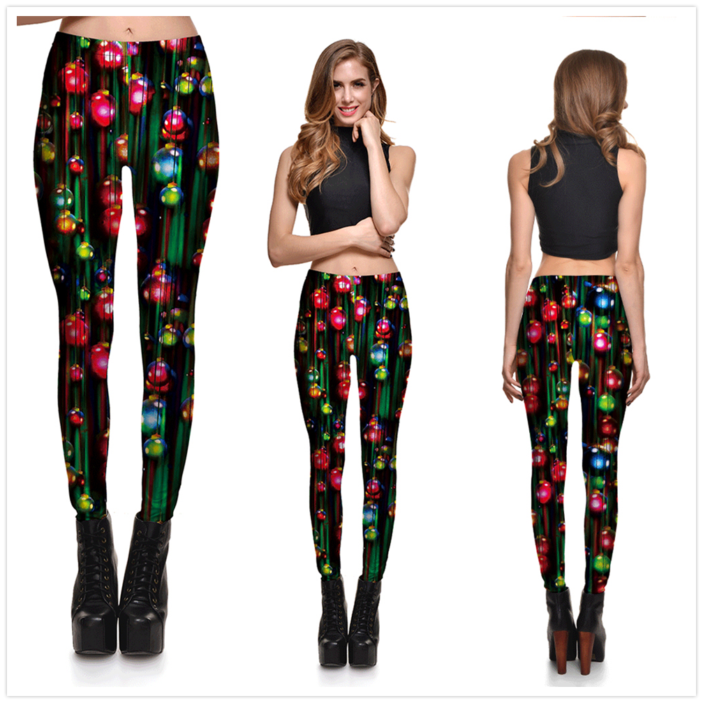8 Great Styles, Women Sexy Merry Christmas leggings, Gradient Lanterns, Color Fantasy Printed 14