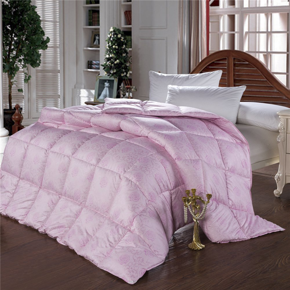 European Edredon funda 100 goose down comforter double feather quilt bedding filling pure pink white duvet