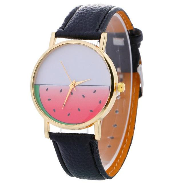 MISSKY Watermelon Student Wristwatch Analog Faux Leather Strap Quartz Watch for