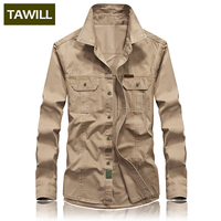 TAWILL Denim Shirts Men dress Fashion Military Male Jean Cotton Shirt 2018 New Camisa Masculina Brand clothes High Quality B1388