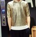 2016 hot Mens DJ Stage Meninos Tshirt Slim Fit Moda t Homens da camisa do Ouro Prata Lantejoulas T-shirt de Manga Curta Night Club Top qualidade