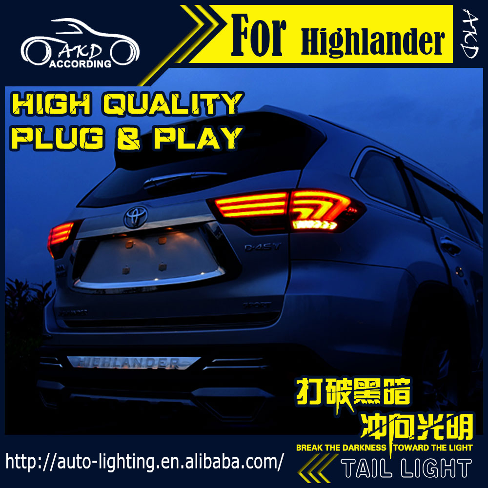 AKD Car Styling Tail Lamp for Toyota Highlander Tail Lights 2015 Kluger LED Tail Light Signal LED DRL Stop Rear Lamp Accessories high quality car styling 35w led car tail light for toyota highlander 2015 tail lamp drl signal brake reverse lamp