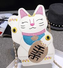 Super cute embroidery Lucky Cat chain shoulder bag, new fashion design original Mini Messenger Bag,lolita kawaii bags for girls