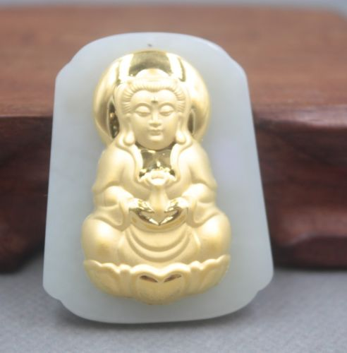Natural Hetian Jade Nephrite with 24K Gold Bless Kwan-Yin Pendant 46mm HNatural Hetian Jade Nephrite with 24K Gold Bless Kwan-Yin Pendant 46mm H