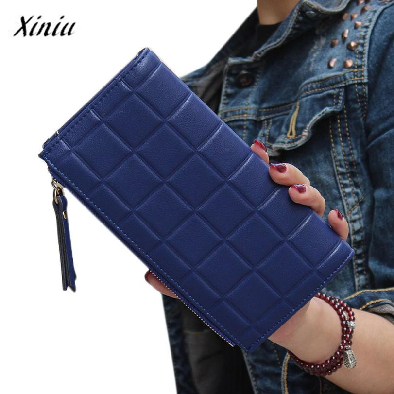 Xiniu women wallets Leather Square Long Purse Double Zipper Card holder Women's Purse carteras mujer para mujer #0504