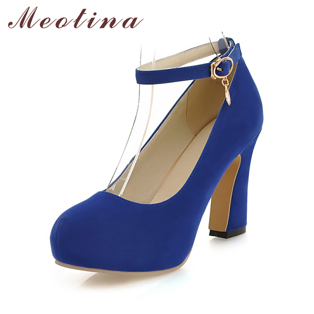 Meotina Shoes Women Thick High Heels Pumps Platform Shoes Ankle Strap Pumps Ladies Shoes 2018 Spring Dress Heel Blue Big Size 43 meotina high heels shoes women wedding shoes platform high heel pumps ankle strap bow spring 2018 shoes white pink big size 43