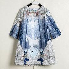 Qaoerde jesień motyl dziewczyny jednorożec sukienka niebieska z długim rękawem dla dzieci swobodne sukienki dla dziewczynek 3 12 lat śliczne dziewczyny ubrania