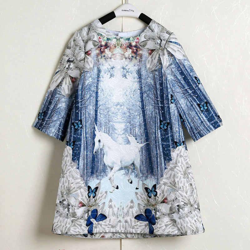 Vestidos casuales de Niños de manga larga azul con diseño de unicornio para niñas de 3 a 12 años
