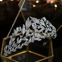 ファッション結婚式のティアラ 2018 葉の結晶デザインブライダルクラウンバロックノビア花嫁ジュエリーウェディングヘアアクセサリー