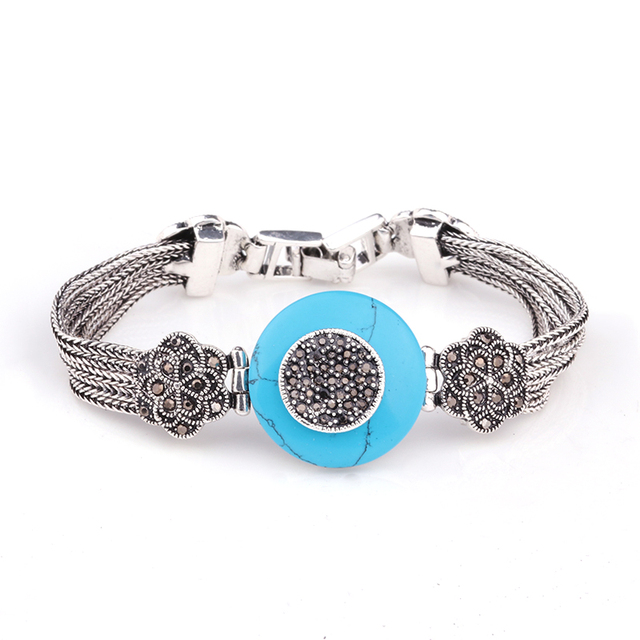 Hight Quality Vintage Turkish Jewelry Antique Silver Plated Blue Turquoise Natural Stone Bracelets For Women