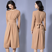 Spring Autumn solid color dress for women New Fashion Long Sleeve maxi dress Women Elegant temperament O-Neck Plus Size Dress