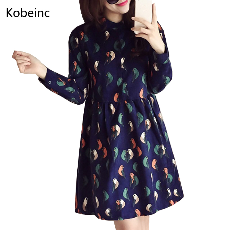 Kobeinc 2017 Spring Autumn Maternity Dress Long Sleeves Printing Hamile Giyim New Stand-Collar  Vestidos For Pregnant Women