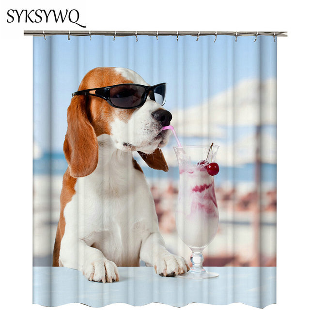 Casual Dog Shower Curtain For Bathroom Decor Por Pet Bath Gift Waterproof