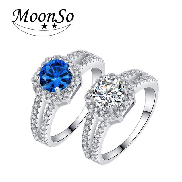 925 Sterling Silver Wedding Engagement Rings Blue yellow Pink for