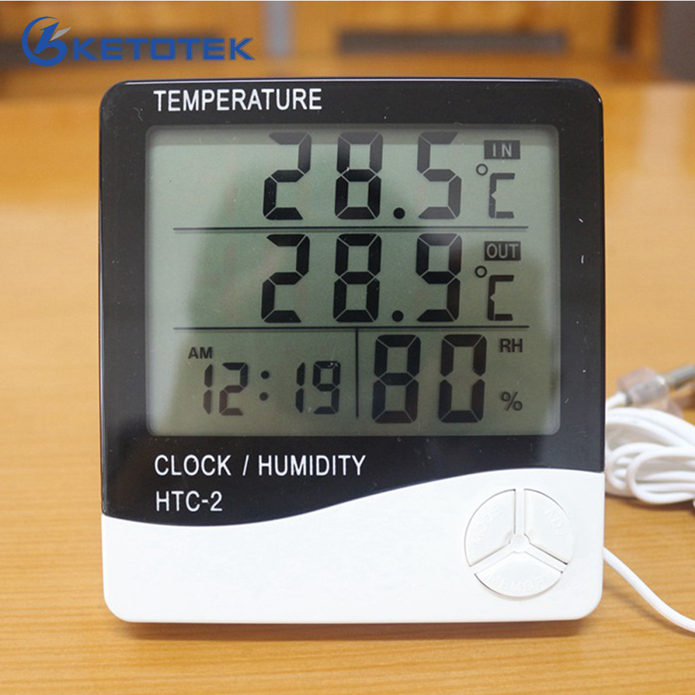 FREE SHIPPING Digital Thermometer Hygrometer Electronic LCD Temperature Humidity Meter Indoor Outdoor Clock HTC-2 Barometer