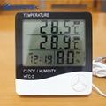 Ketotek Digital termómetro higrómetro electrónicos LCD medidor de humedad temperatura estación de tiempo interior al aire libre reloj HTC-2