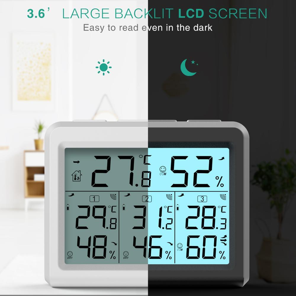 Image 3 - Термометр с гигрометром ORIA, цифровой термометр с ЖК дисплеем,  беспроводной датчик температуры и влажности в помещении, пульт  дистанционного управленияДатчики температуры