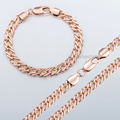 Rose Gold Filled Necklace Bracelet Set Venitian Link chain Mens Womens Chain Jewelry Wholesale LGS186