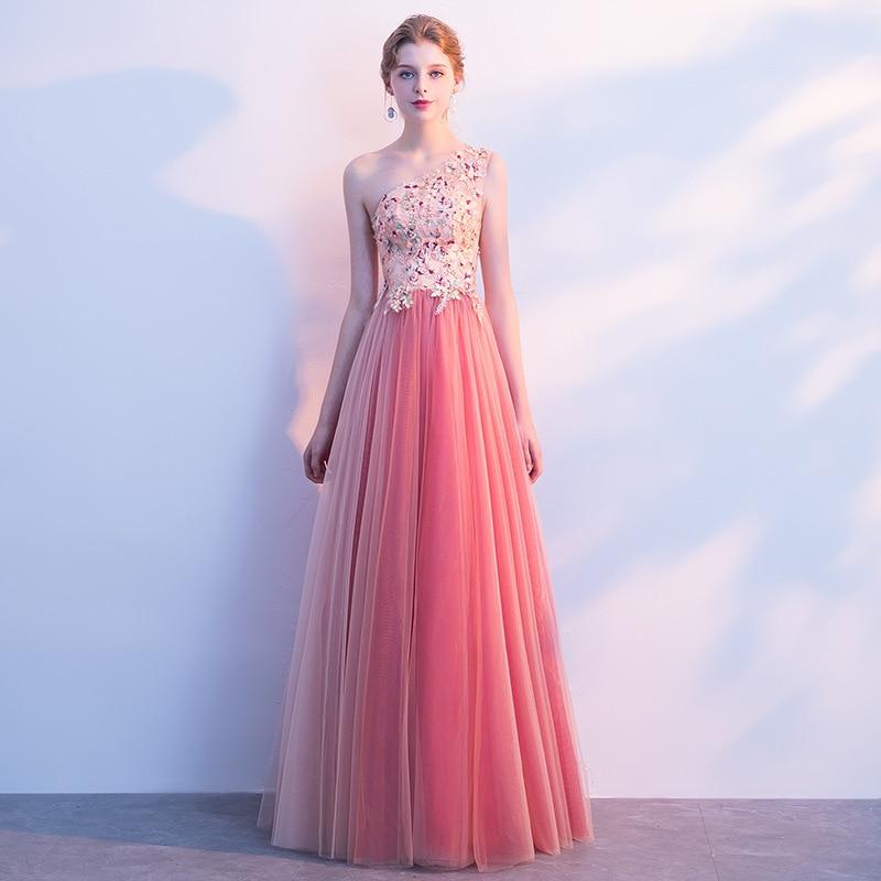 2019 Lente Nieuwe Mode Vrouwen Avondjurk Een Schouder Kralen Prom Party Jurken Een Lijn Elegante Banket Jurk Haute Couture