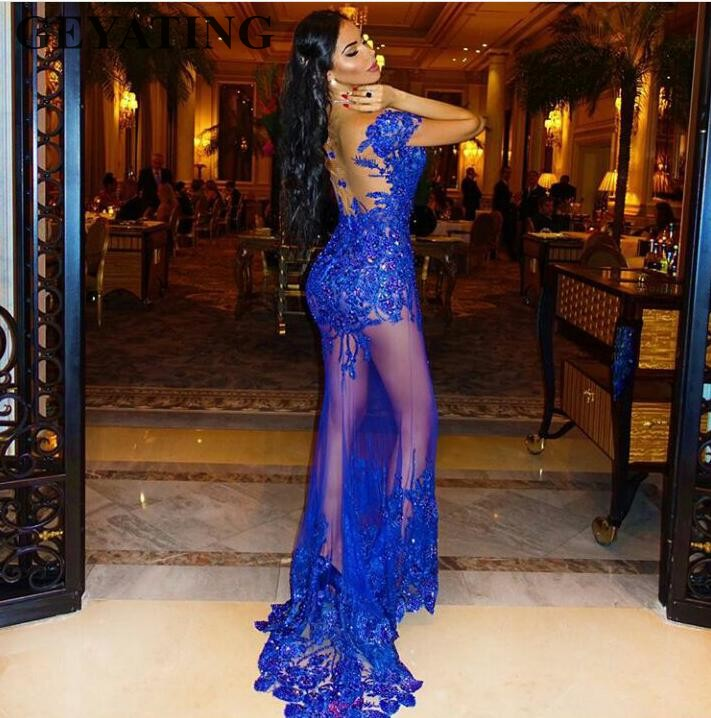 Royal Blue Lace Mermaid African   Prom     Dresses   for Women Sexy Long Party Evening Gowns Illusion Back See Through Formal   Dress   2019
