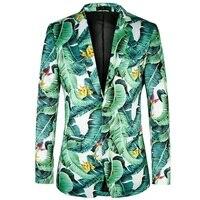 2019 New Colorful Banana Leaf Printing Fashion Suit Jacket Men Party Beach Slim Fit Blazer Men Jacket Excellent Dress Jacket Men