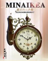 Fashion antique double faced clock Large fashion clock modern rustic brief mute quartz clock and watch