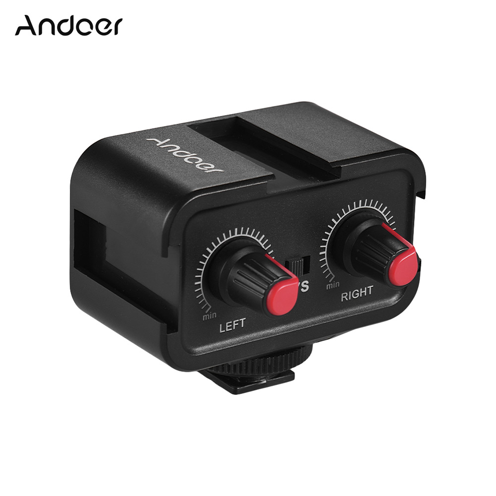 Andoer WS-VS Dual-Channel Microphone For Camera Audio Mixer Adapter 3.5mm Stereo Output For Canon Nikon Sony DSLR Camcorder