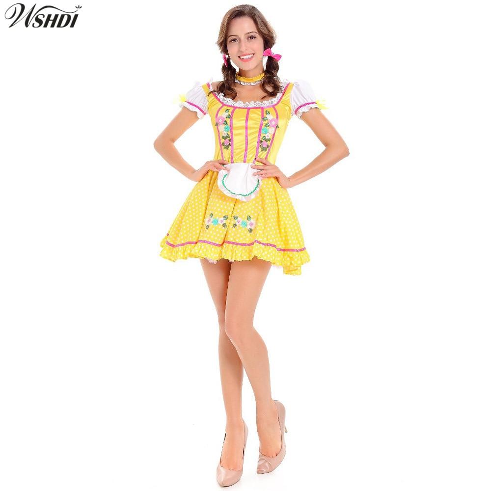 New! German Wench Costume Oktoberfest Beer Maid Dirndl Uniforms Carnaval Festival October Beer Girls Fancy Dress
