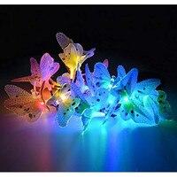 Солнечная садовая гирлянда 12 светодио дный ных бабочек дизайн многоцветный меняющий декоративные огни для дома, патио, ГАР