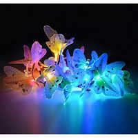 Cadena de luces solares para jardín 12 LED diseño de mariposas luces decorativas que cambian de color multicolor para el hogar, Patio, Gar