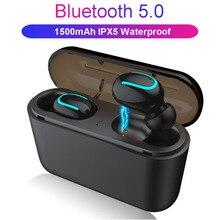 IPX5 防水 Bluetooth ヘッドセット 5.0 ワイヤレスステレオイヤノイズキャンセルゲームイヤホン電源 Tws sh *