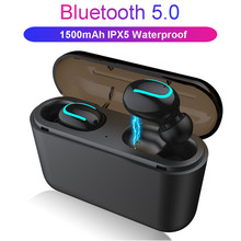 IPX5 Waterproof Bluetooth Headset 5.0 Wireless Stereo Sports Earbuds Noise Cancelling Gaming Earphones Power Supply Tws sh* dacom l02 dual drivers neckband running bluetooth headphone 4 1 ipx5 waterproof stereo cvc noise cancelling wireless earphones