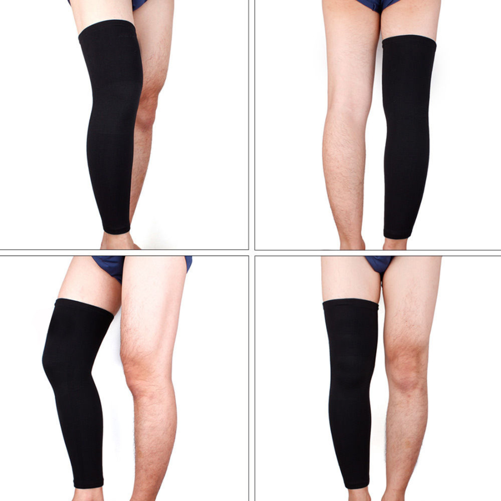 1 Pc Elastic Basketball Knee Pad Support Brace Football Leg Calf Thigh Compression Sleeve gaiters Sports Safety Size L