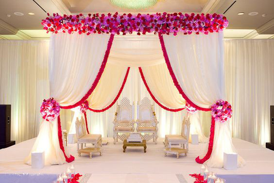 10ft x 10ft x 10ft pure white square canopy/chuppah/arbor drape with red swag for wedding decoration,Including Drape and Stand