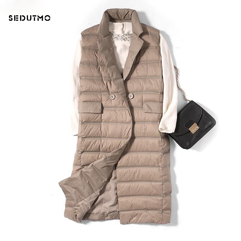 SEDUTMO Winter Ultra Light Women Down Vest Jackets Long Duck Down Coat Autumn Puffer Waistcoat Slim Parkas ED523