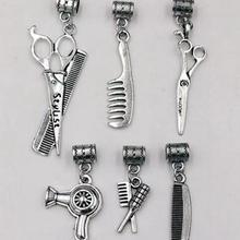 30 Uds. Tijeras de plata Vintage secador de pelo peine dijes colgantes de collar pulsera joyería peluqueros Fabricación de regalos
