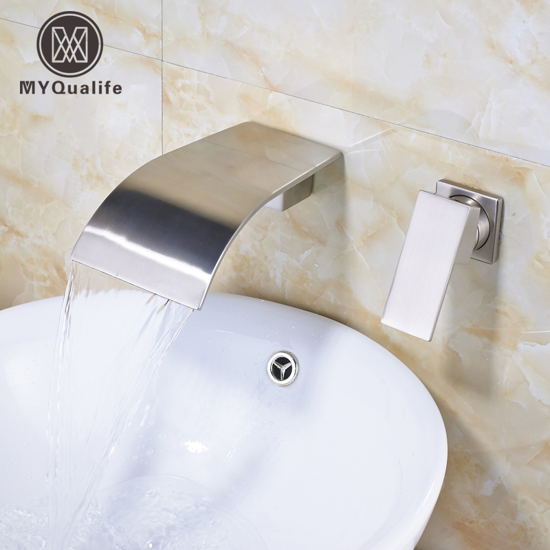 Good Quality One Handle Waterfall Basin Faucet Mixer Taps Brushed Nickel Wall Mounted Bathroom Sink Washing Tap wall mounted dual handle waterfall basin faucet brushed nickel hot and cold wash basin mixer taps