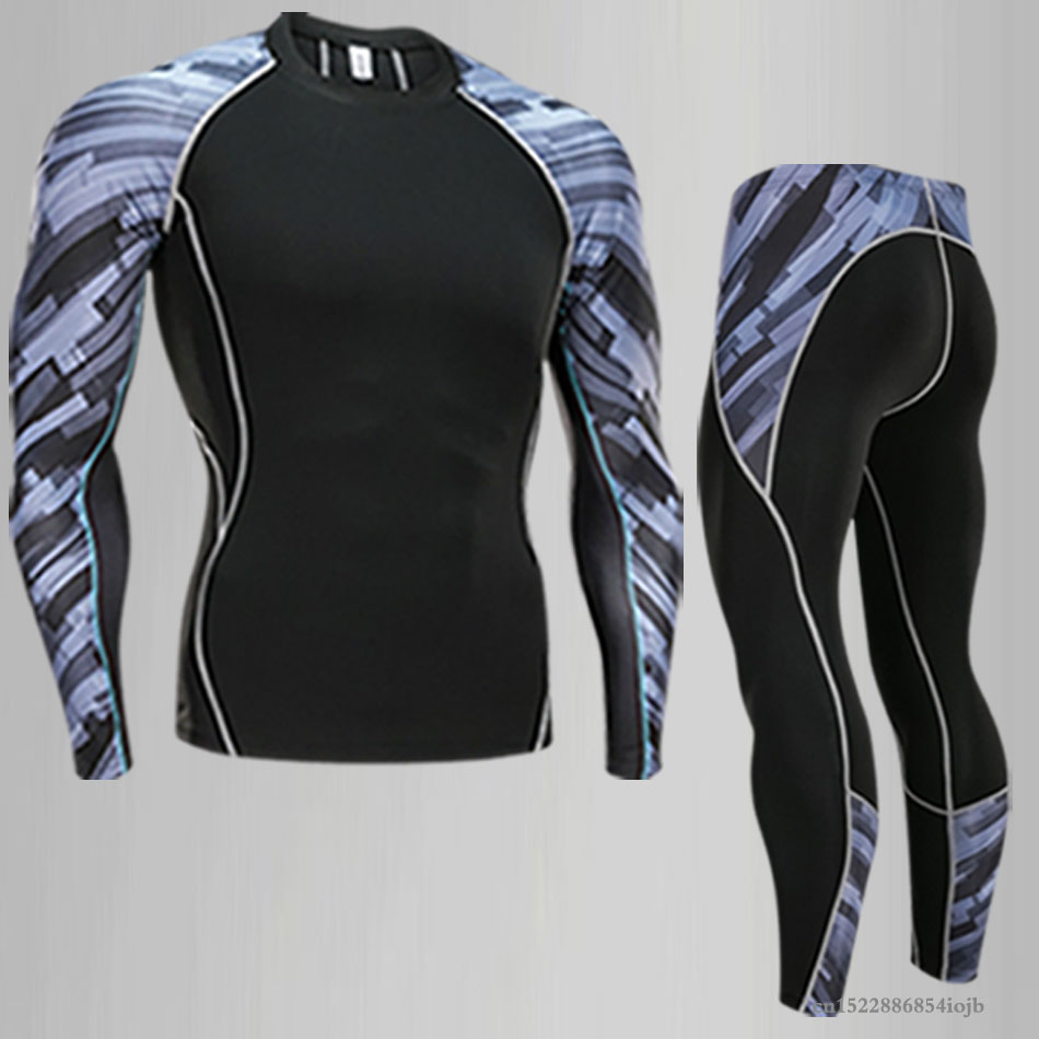 Image 2 - 2018 Fitness MMA Compression Shirt Men Rashguard Male Long Sleeve T Shirt Crossfit Bodybuilding Men Skull Print 3D T Shirt TopsRunning T-Shirts   -